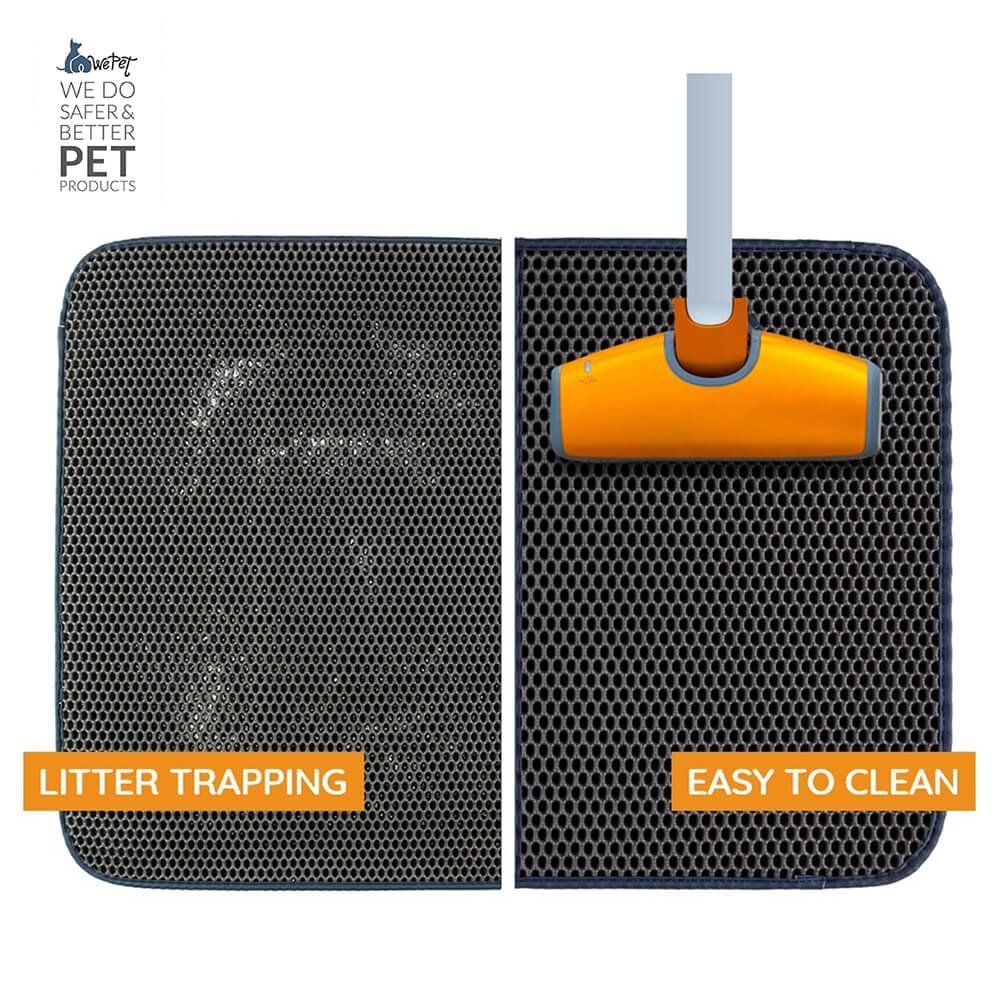 Scatter Control Kitty Litter Trapping Mat Washable Premium Durable Soft PVC Rug Urine Waterproof Litter Box Tray Carpet WePet Cat Litter Mat Easy Clean