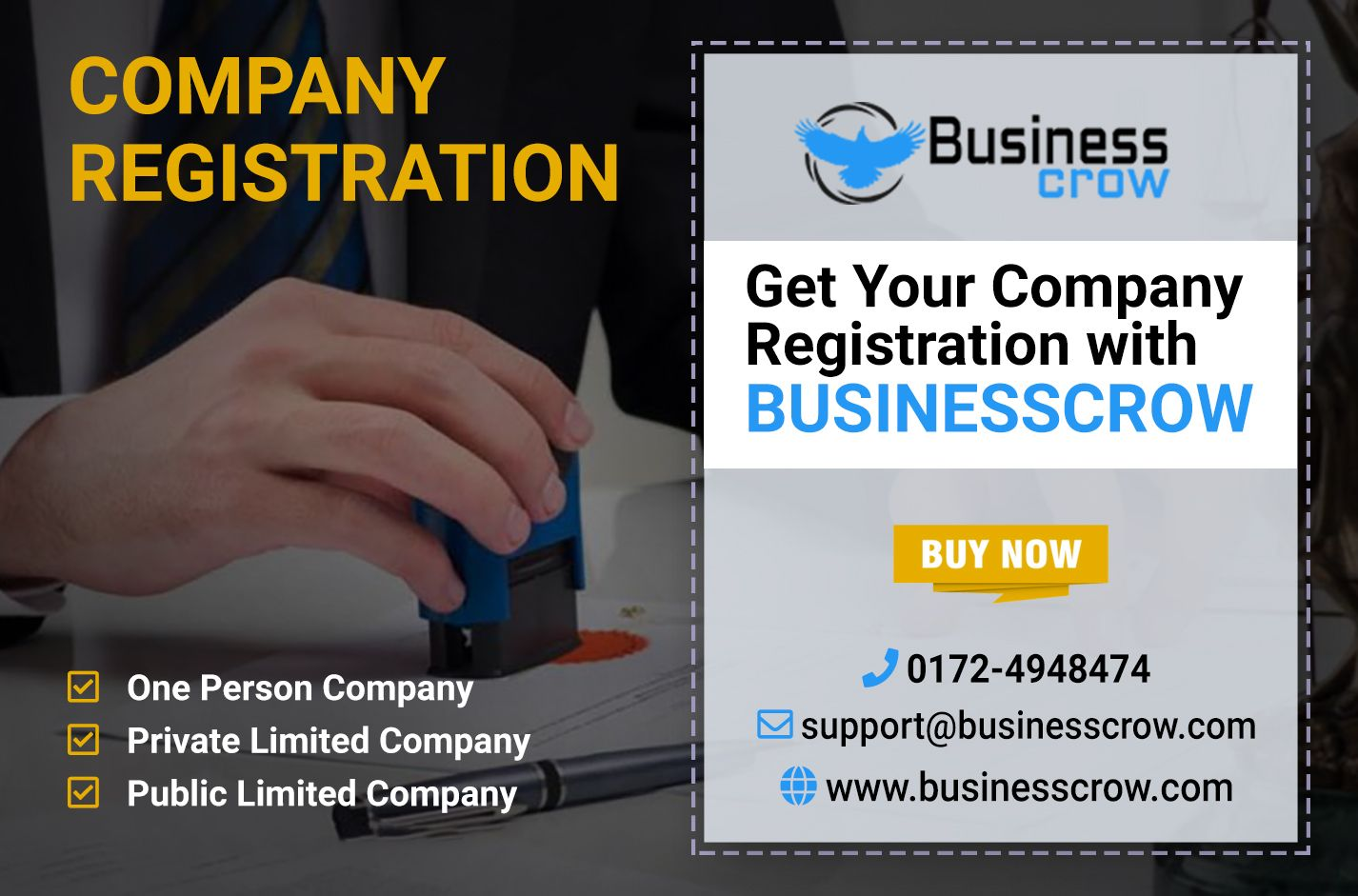 Now, Company Registration is so easy with BusinessCrow. It