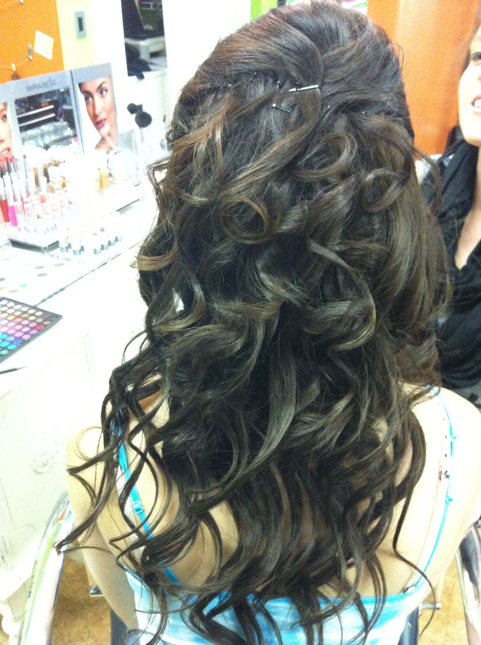 half up down with curls :)