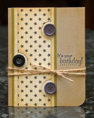 birthday  Love the way she used a circle punch to notch out areas for the buttons!!  Great idea!