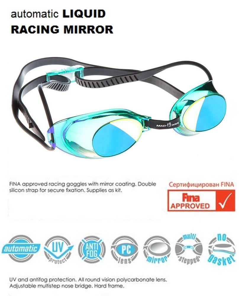 723ccffd1735 MadWave Swimming Goggles - Automatic Liquid Racing Mirror - FINA Approved