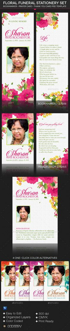 Floral Funeral Stationery Template Set is designed to compliment the ...