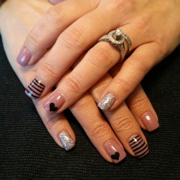 Nude Gel Nails With Glitter And Black Heart Design Valentinesnails