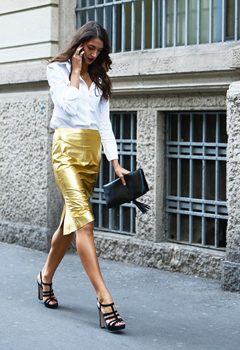 Zara Gold Leather Skirt - #SaraRossetto in Milan | Hello Color ...