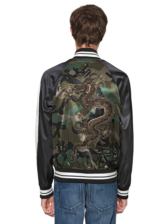 Valentino Green Dragon Embroidered Satin Bomber Jacket For Men Satin Bomber Jacket Bomber Jacket Men Bomber Jacket [ 1500 x 1125 Pixel ]