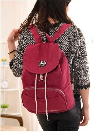 303f582045 Casual Stylish Woman With Purple Red Preppy Cool Backpack- Front View