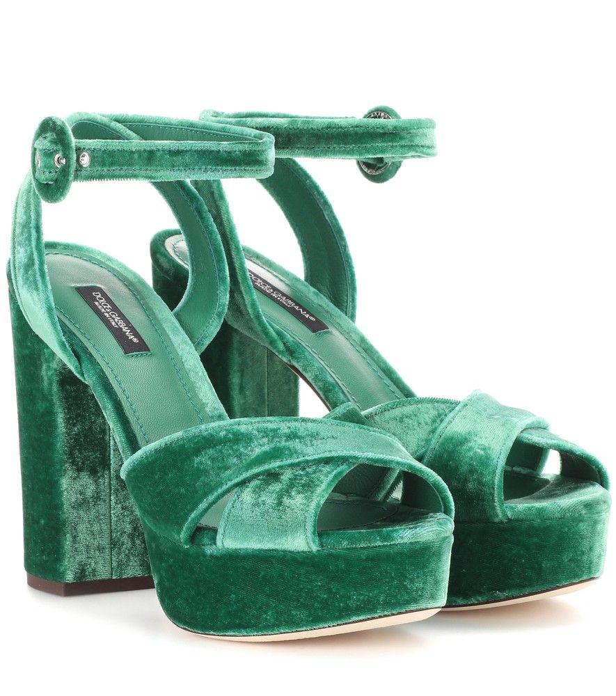 944466e611194 Dolce   Gabbana - Plateau-Sandaletten Samt smaragdgrün