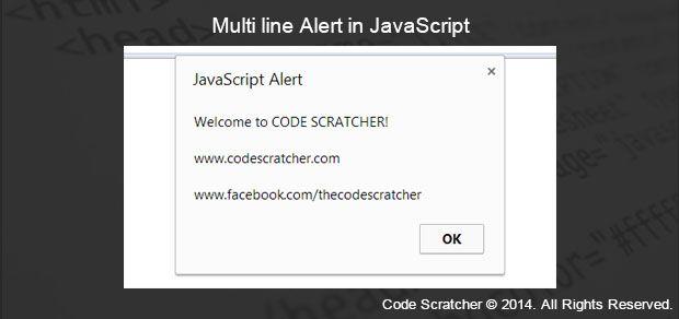 Multi line Alert in JavaScript