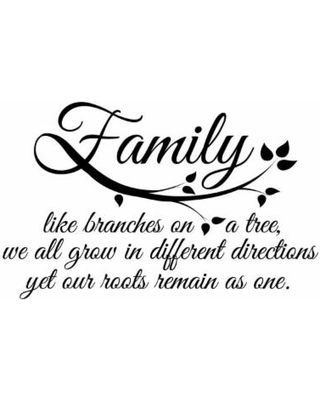QUOTE: Family, like branches on a tree, we all grow in different directions yet our roots remain as one.//Dimensions: 21.5 inches x 13.5 inches//Other Information* All of our decals are made with high quality non-fading vinyl.* Dana Decals are made...