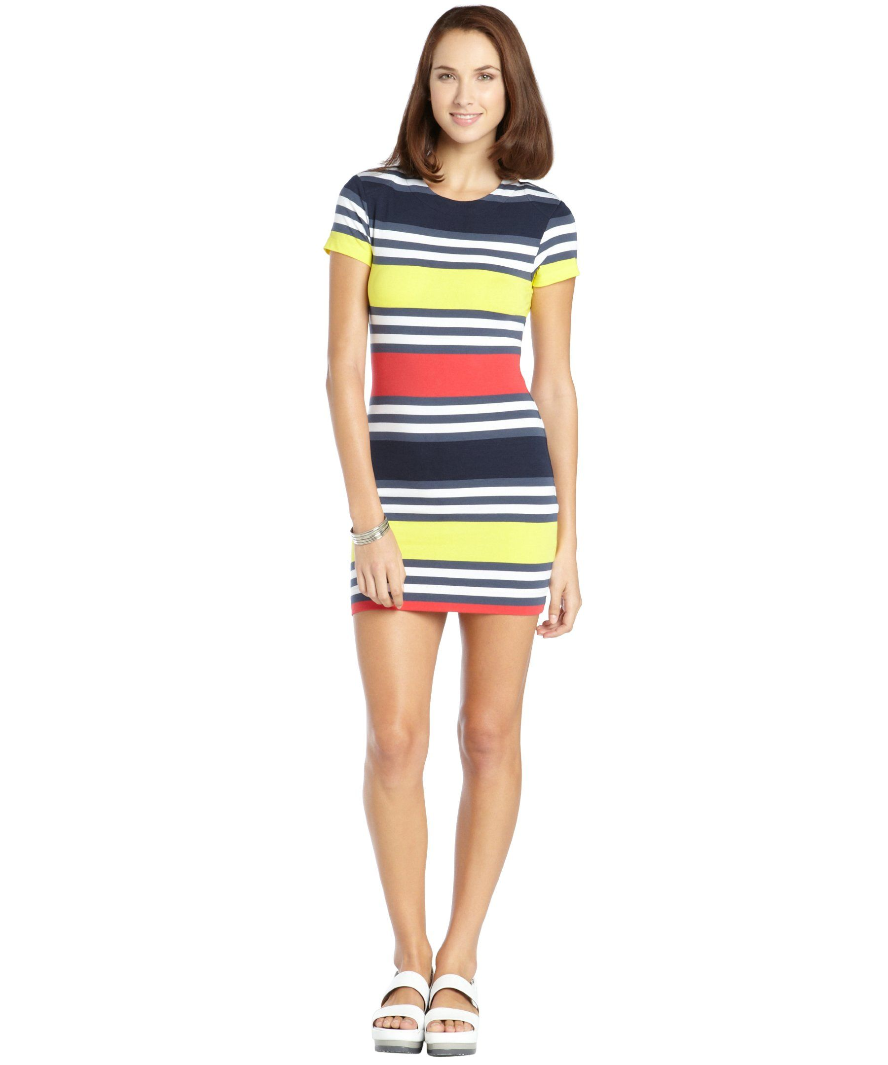 French Connection blue and yellow stretch cotton jag stripe dress | BLUEFLY up to 70% off designer brands