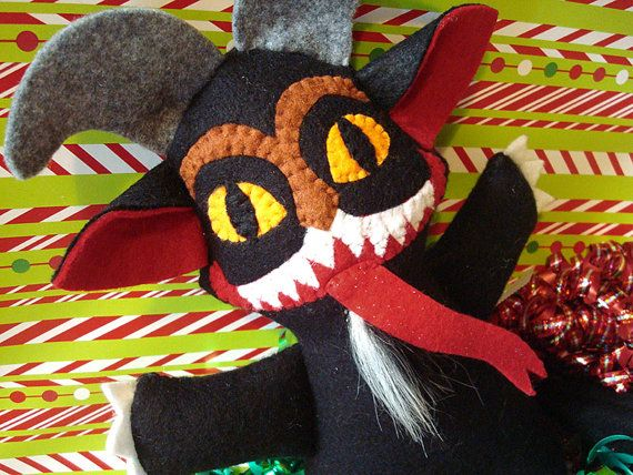 Weird Plush -- Krampus the Christmas Demon -- Handmade Stuffed Doll