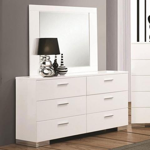 Best Modern Glossy White Dresser And Mirror Furniture 400 x 300