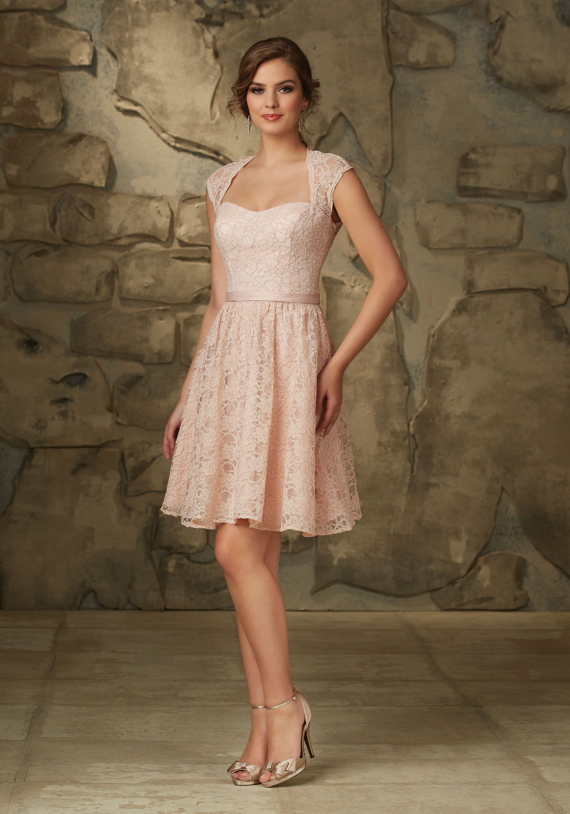 Romantic lace bridesmaid dress with cap sleeves and keyhole back i