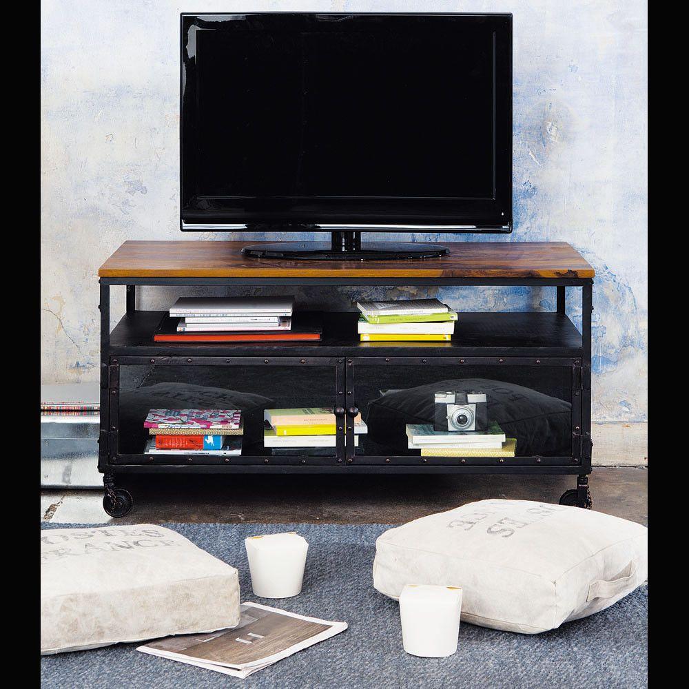 meuble tv roulettes en mtal et sheesham massif noir l110 - Meuble Tv A Roulettes Noir