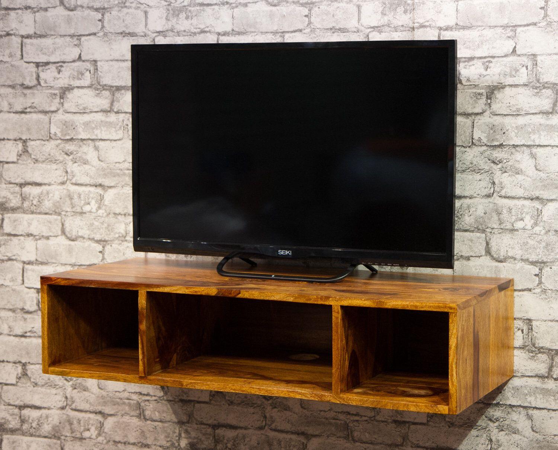 Solid Sheesham Wood Wall Hanging Block Floating Shelf Console Table Tv Cabinet Cube Shelf Ibf 3004 In 2020 Hanging Tv Wood Wall Hanging Wall Hanging