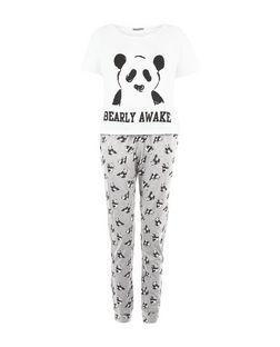bdbc671bd5 Black Panda Bearly Awake Print Pyjama Set