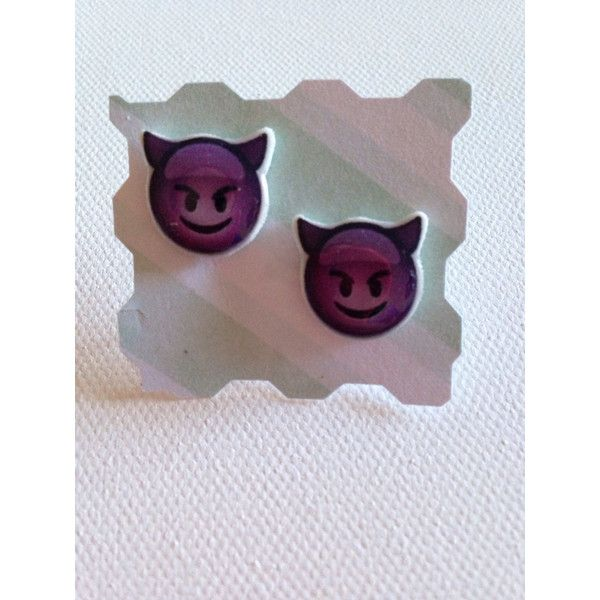 "iPhone Emoji ""Smiling Face with Horns"" Stud Earrings Grinning Purple... ($8) ❤ liked on Polyvore featuring jewelry, purple jewelry, purple jewellery and horn jewelry"