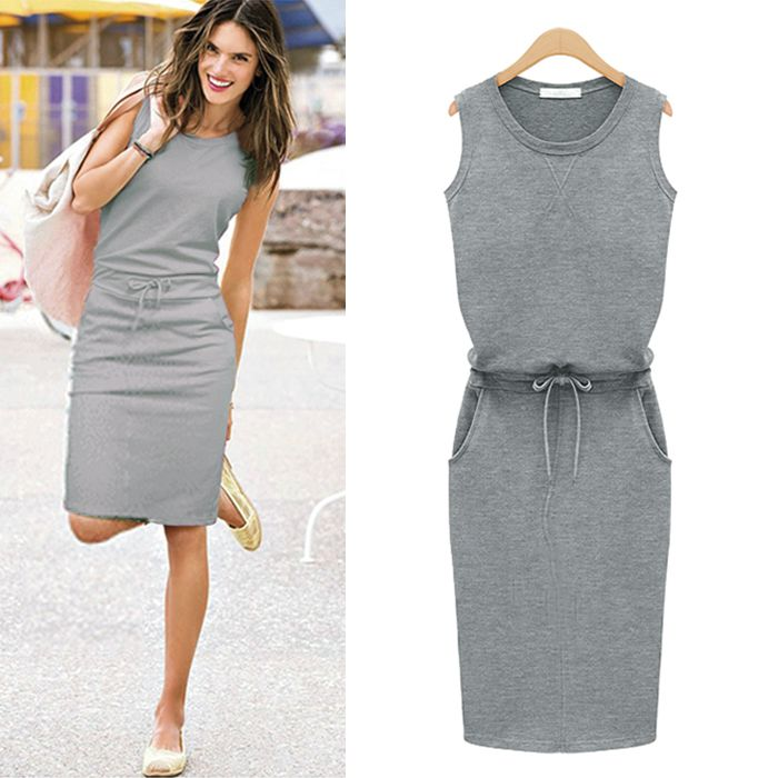 2014 Fashion Women Summer Cotton Slim Dress Trend Grey Sleeveless ...