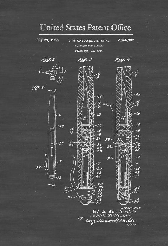 Fountain Pen Pistol Patent - Patent Print Wall Decor Gun Art Firearm - new blueprint gun art