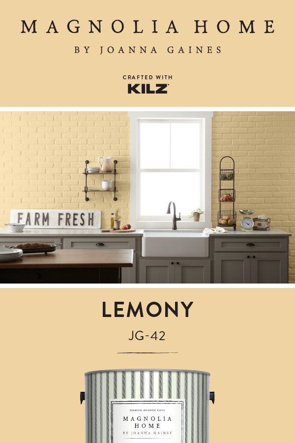Add A Bright And Citrusy Twist To The Interior Design Of Your Home With A New Coat Of Lemony Fro Magnolia Homes Farmhouse Kitchen Design Bright Kitchen Colors