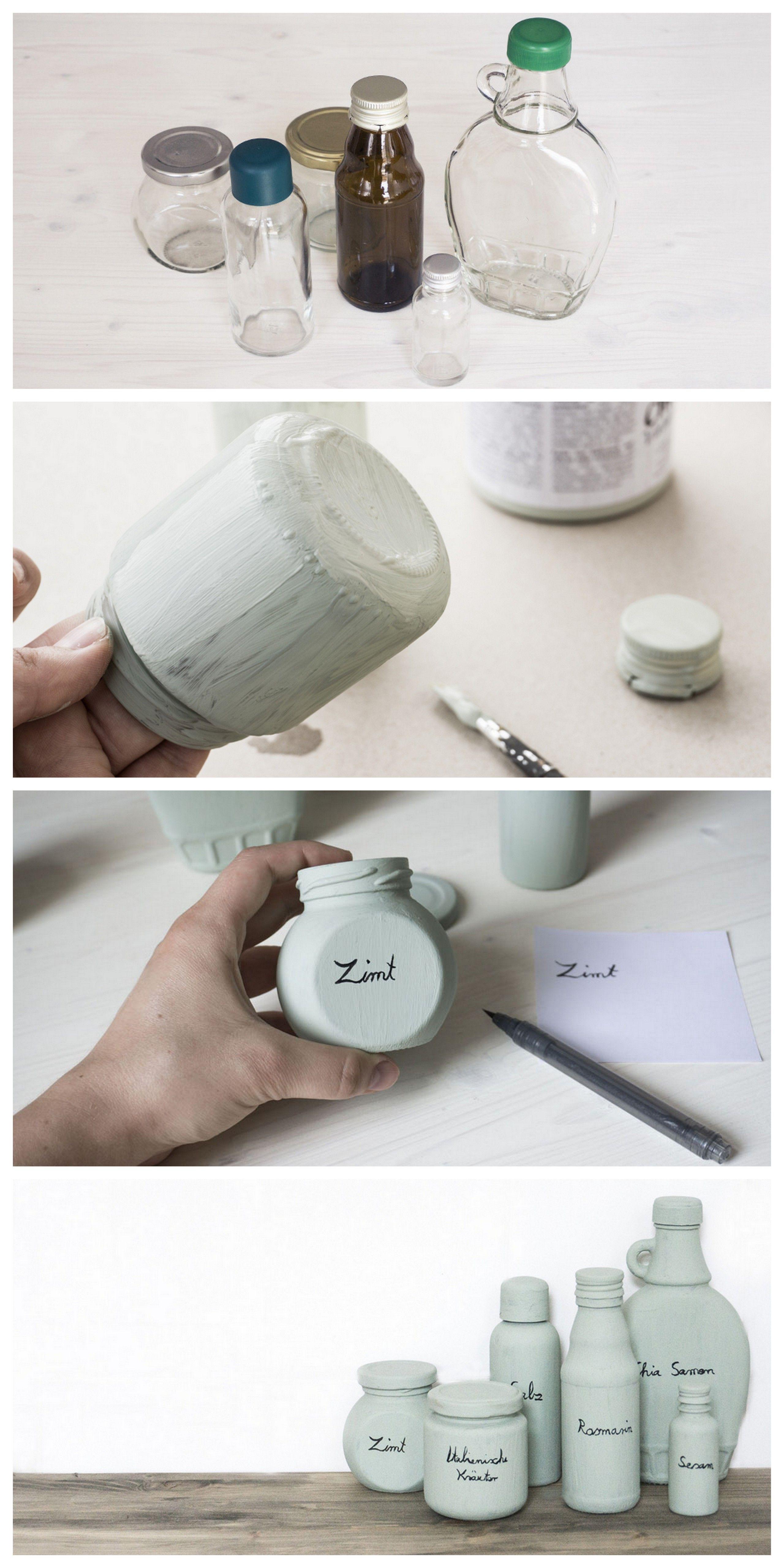 Gewürzgläser mit Kreidefarbe für FROSCH | Glasgefäß, Kreidefarbe und ...