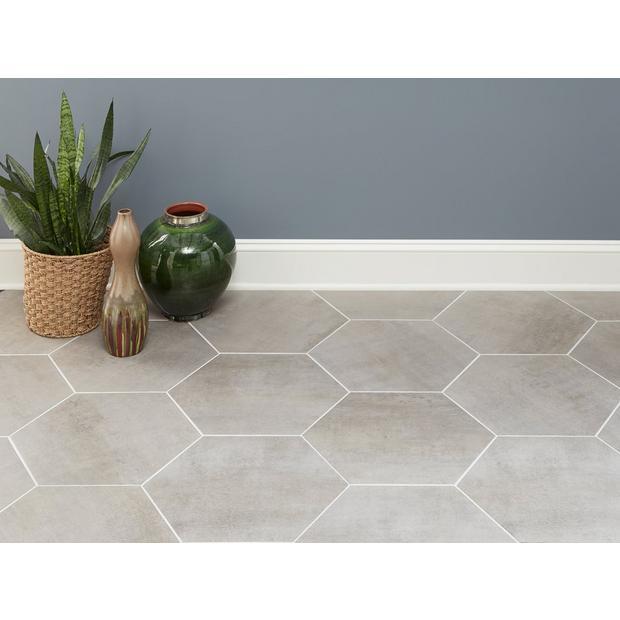Candler Gray Matte Porcelain Tile Hexagon Tile Kitchen Floor Porcelain Tile Flooring