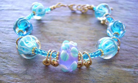 Sky Blue Lampwork Bead Bracelet with Shiny 14K Gold Filled Dangles - Aqua Vita