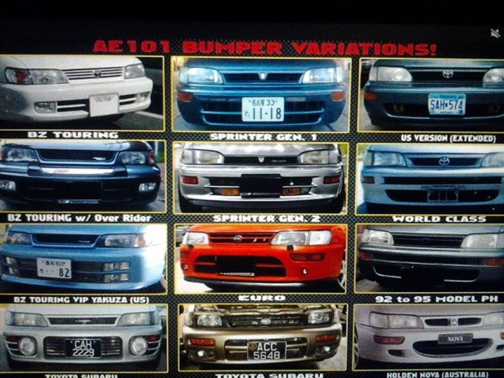 Ae101 Front Bumper Types Toyota Cars Toyota Corolla Toyota