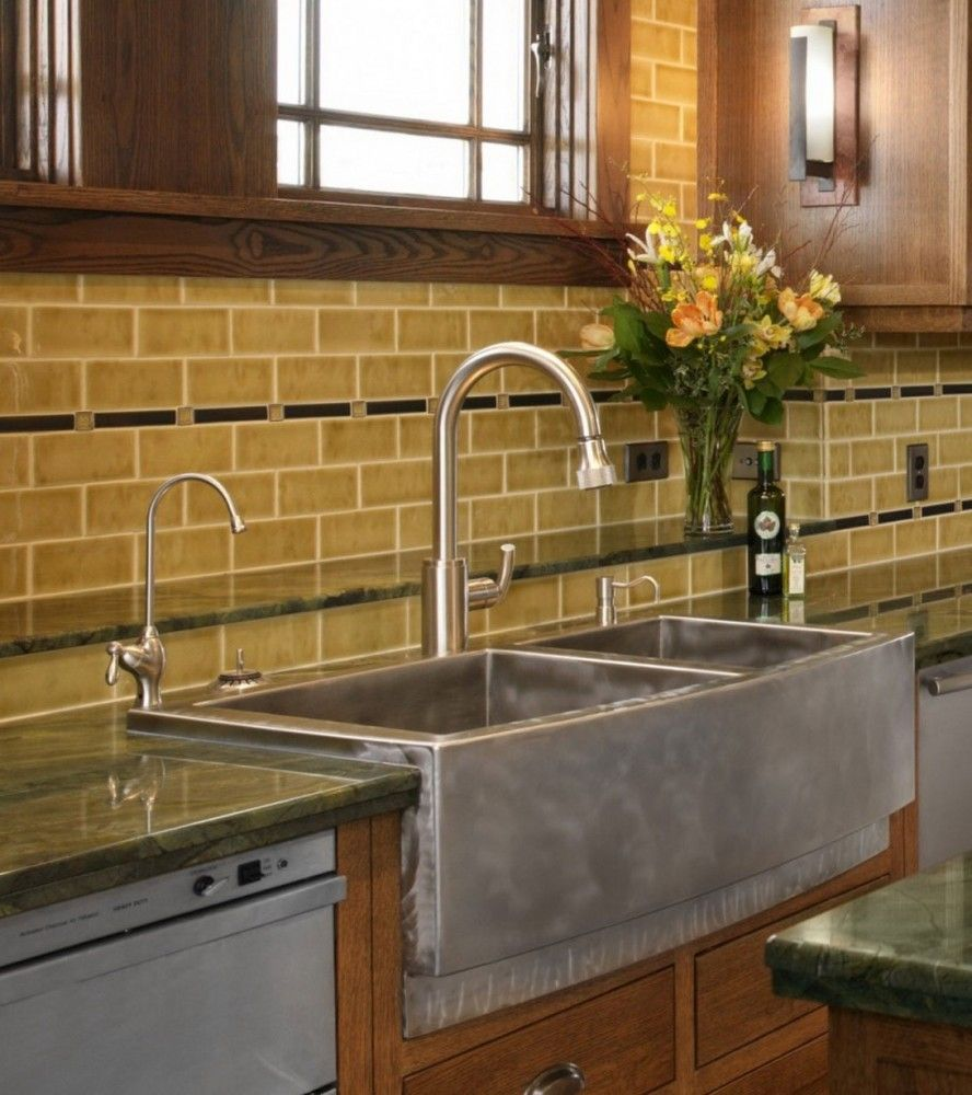 Attractive Kitchen Backsplash Ideas : Exciting Stainless Steel Farm Sinks  For Kitchens Glass Tile Backsplash As Attractive Image - Gorgeous Farm Sinks For Kitchen Of Stylish Look : Exciting