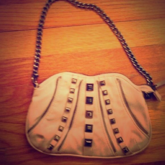 Light purple clutch with chain studded Light purple/pink studded clutch with dark silver chain 😊😊😊 Bags Clutches & Wristlets