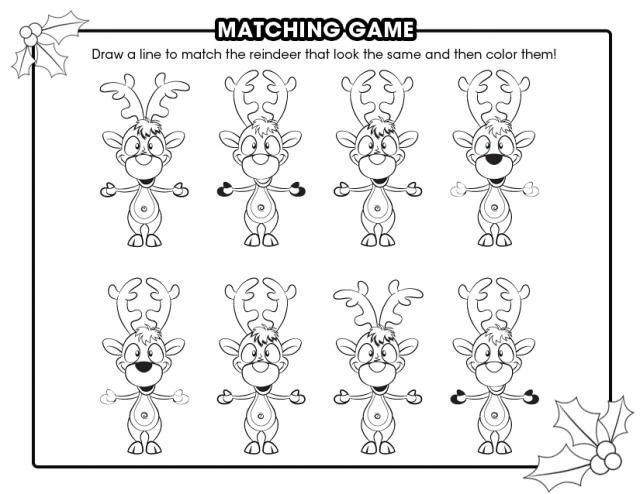 Keep kids busy with 51 printable games and activities reindeer matching game