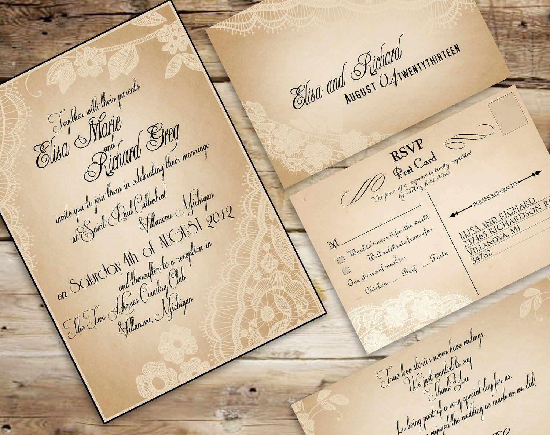 Vintage+wedding+invitation+templates | invite ideas | Pinterest ...