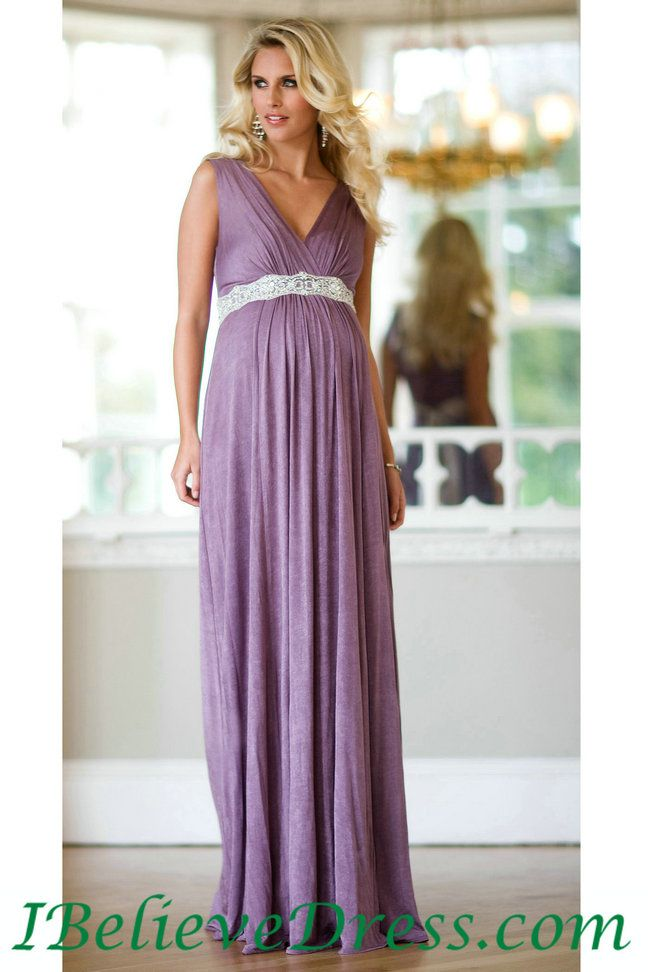 Gorgeous V Neck Celebrity Maternity Evening Dress Floor Length ...