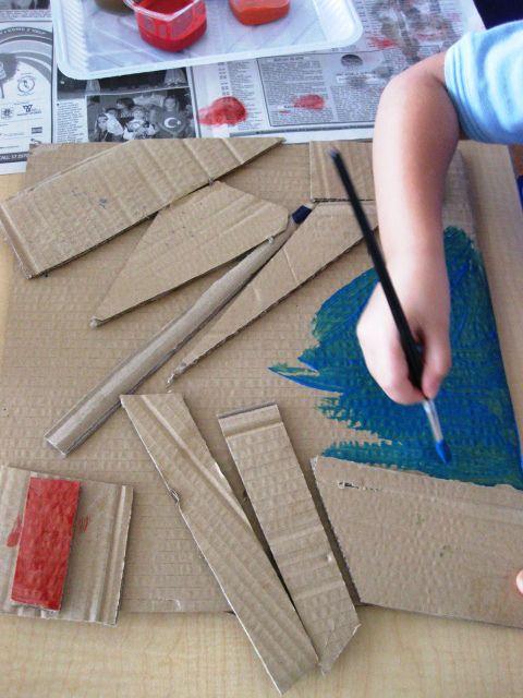 cardboard collages in kinder art lessons for kids kinder