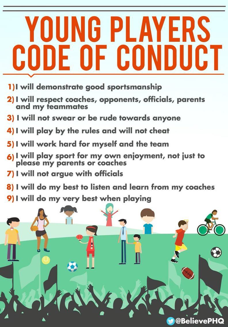 Young Players Code Of Conduct Sportsmanship Code Of Conduct Soccer Coaching