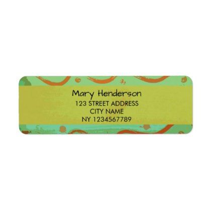 Modern colorful lime retro attern return address label Return - sample address label
