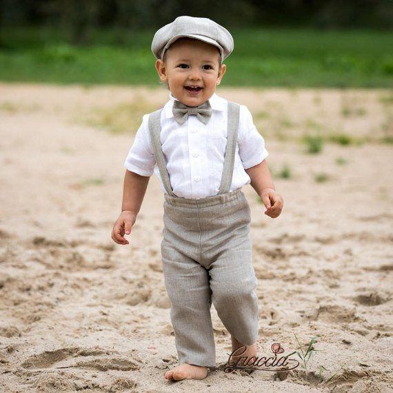 cea141cf86 Baby boy wedding suit Ring bearer newsboy outfit Baby boy linen suit Pants  Suspenders Newsboy hat Bo