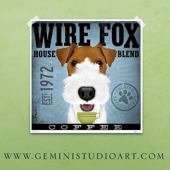 Wire Fox Terrier Coffee Company original graphic illustration giclee ...