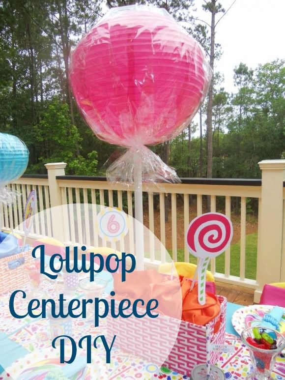 Pink party ideas diy lollipop centerpiece and candy