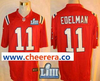 Men s New England Patriots  11 Julian Edelman Red 2019 Super Bowl LIII  Patch Retired Player NFL Nike Game Jersey fc24ad0d6