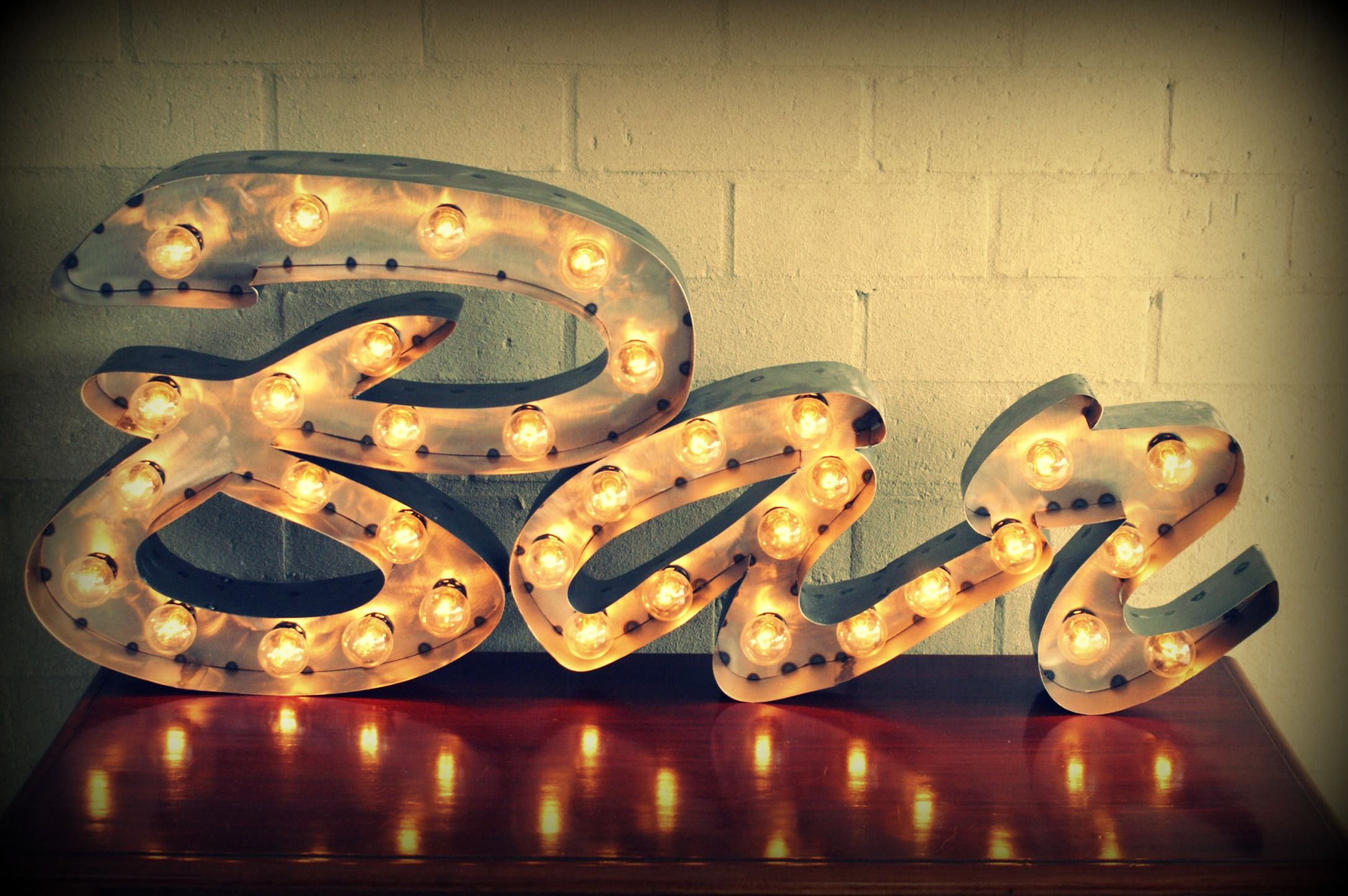 Marquee Bar Sign In Polished Steel Available For Hire From Heidiandkate