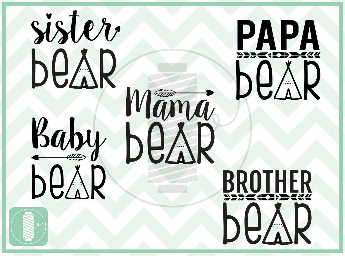 Bear Family (Papa, Mama, Sister, Brother, and Baby) SVG