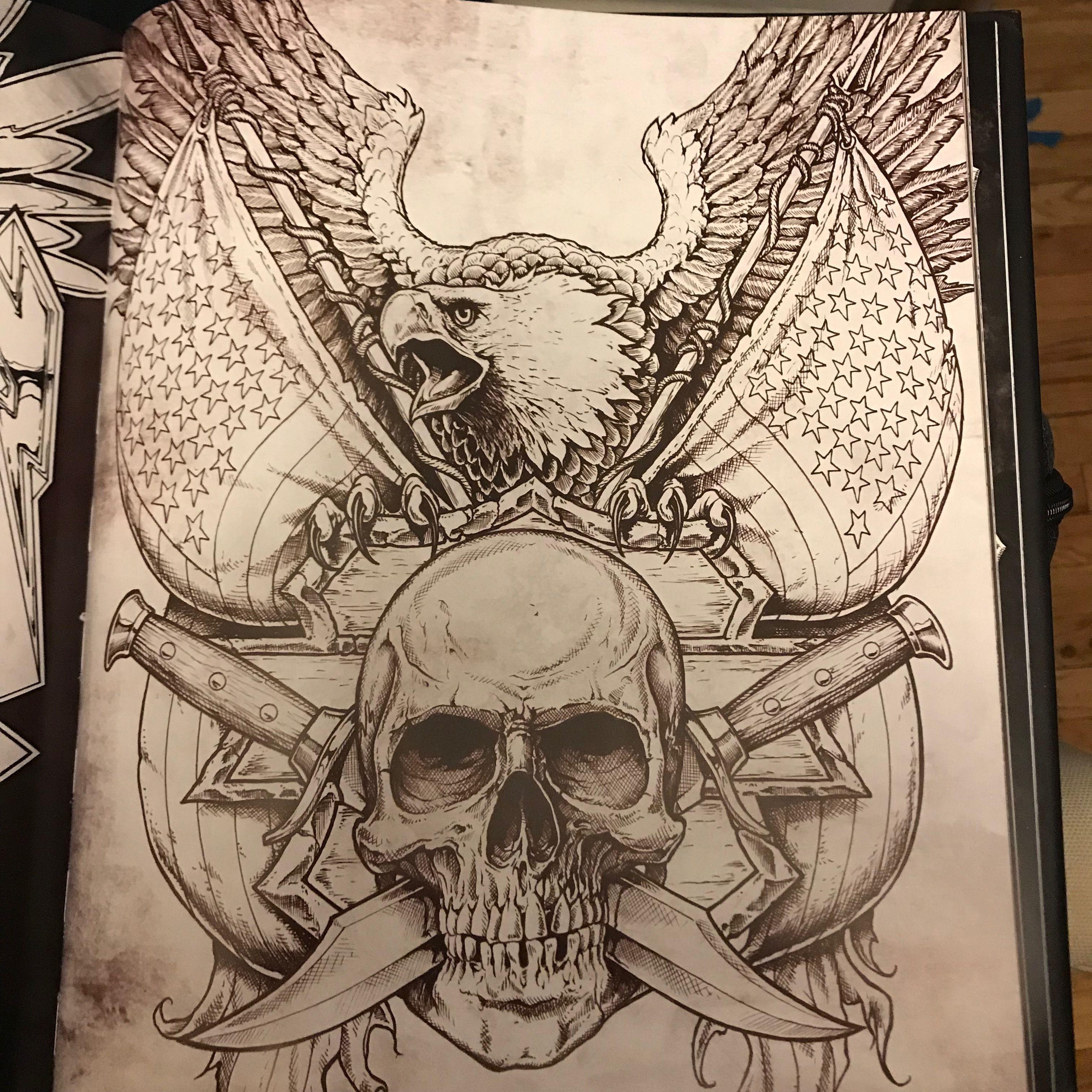 Affliction Eagle And Skull Illustration By Dan Scholz Skull Eagle Affliction Skull Illustration Eagle Skull Skull