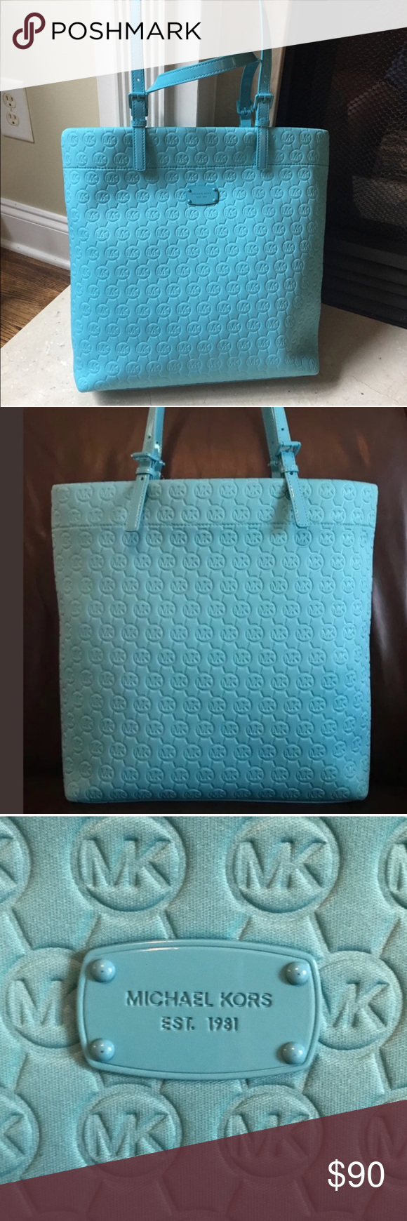 8d7199a59d6c Michael Kors Jet Set Neoprene Tote Turquoise NWT Brand new with tags.  Authentic. MSRP $158. Large Size. 15