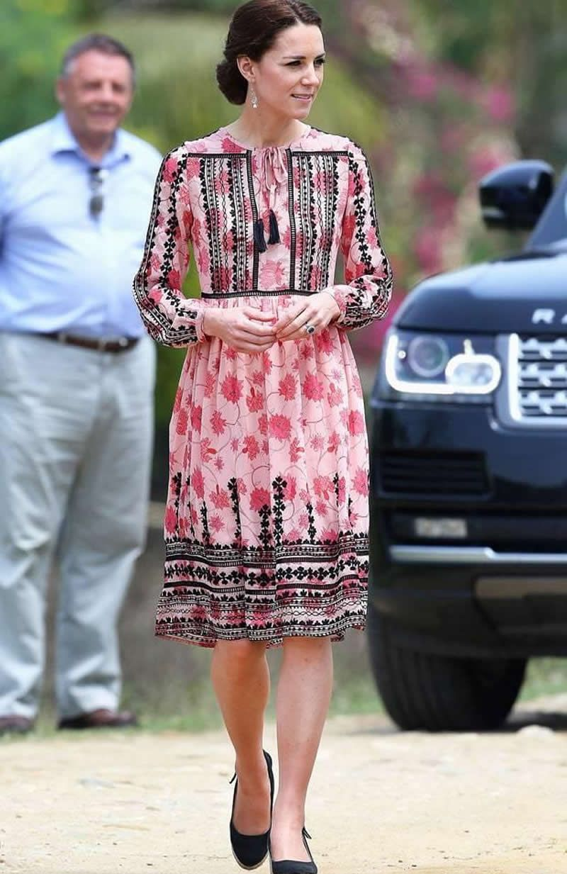 Kate Middleton Princess Print Dress Fashion Lonf Sleeve Pleated ...