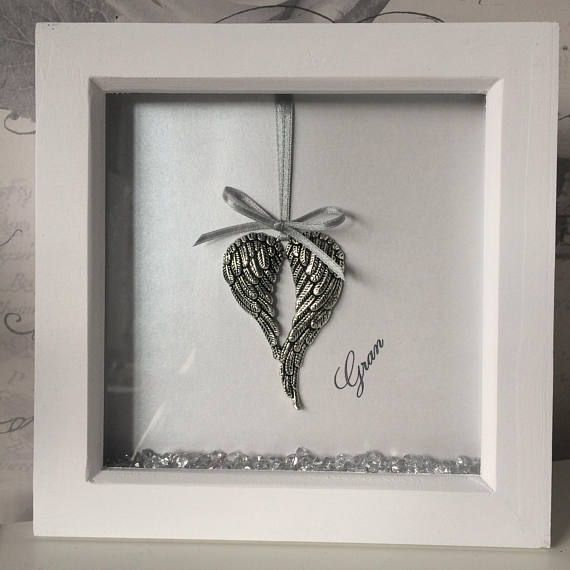 This Beautiful Set Of Angel Wings In A White Box Frame Is Perfect For Any Angel Lover Or To Commemorate The Loss Box Frame Art Frame Crafts Diy Picture Frames