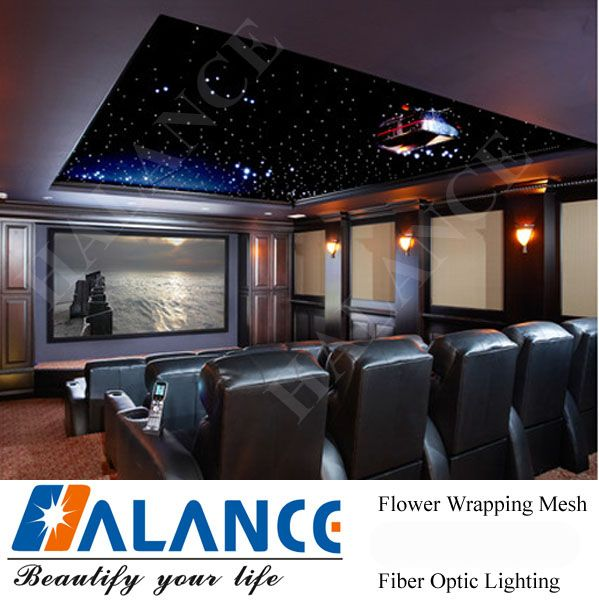 Home Theatre Star Ceiling with optic fiber lighting and light