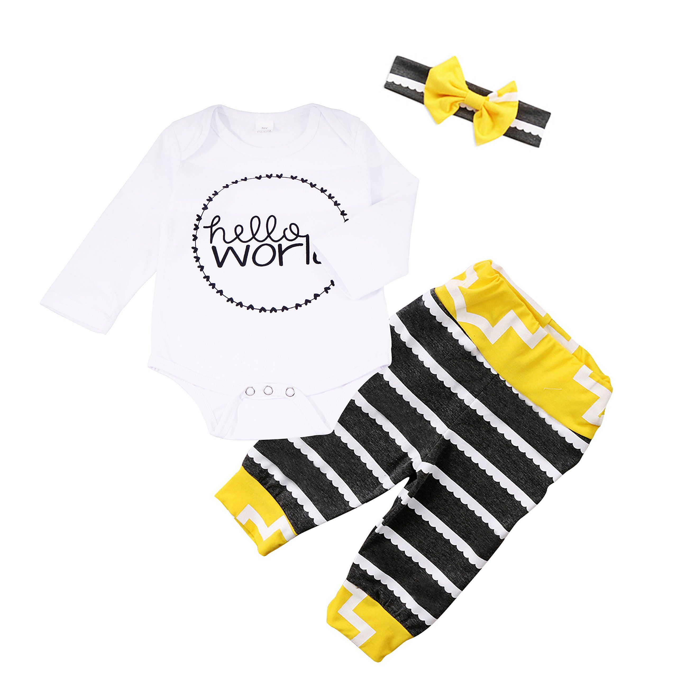 a64105ca75fd CozyWay 3Pcs Newborn Baby Girls Hello World Outfits Infant Romper Tops  Stripe Pants Headband Clothes Set White Stripe 1218 Months ** Learn more at  the photo ...