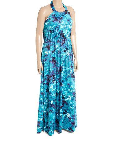 Look what I found on #zulily! Blue & Purple Geometric Halter Maxi Dress - Plus #zulilyfinds