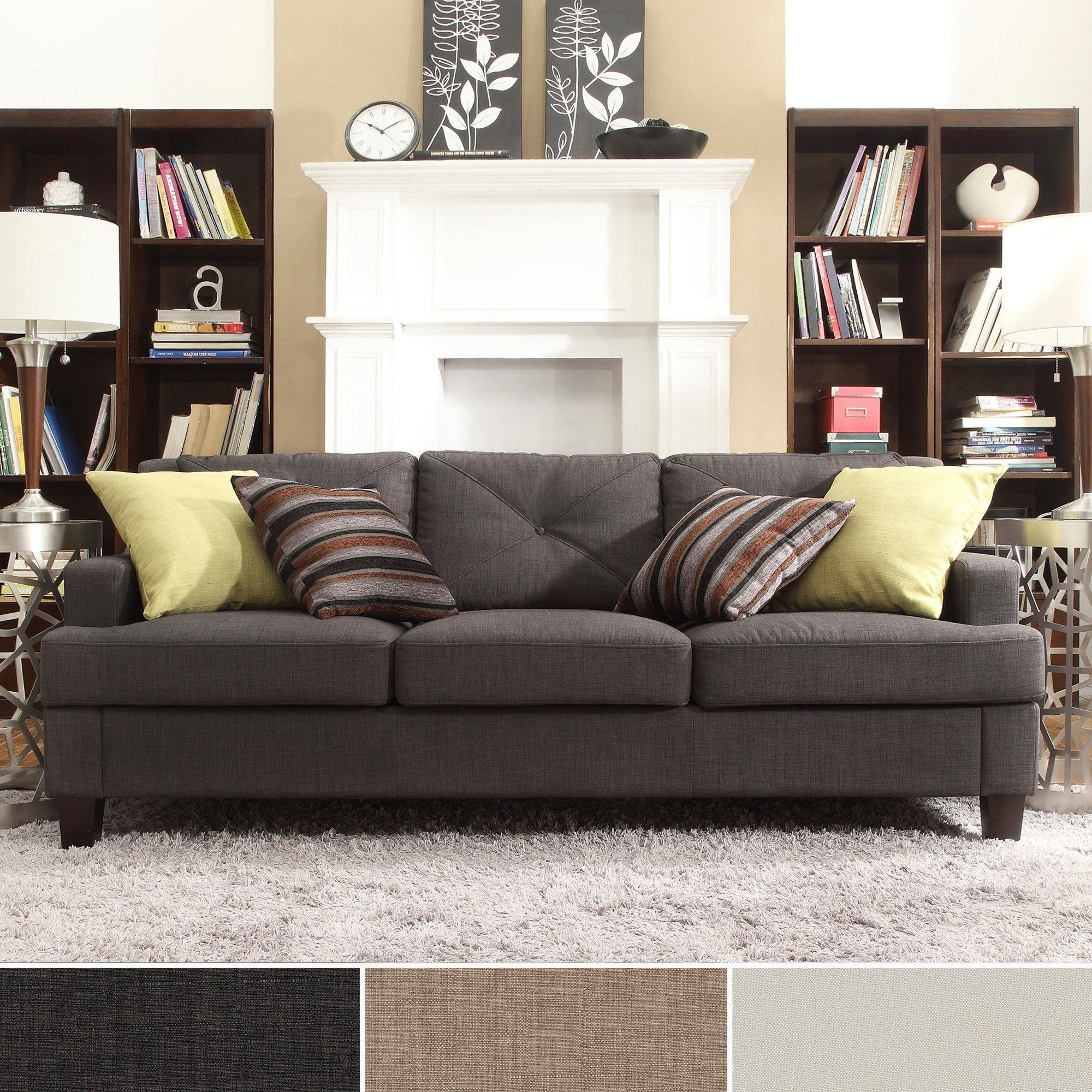 Elston Linen Tufted Sloped Track Sofa iNSPIRE Q Modern by iNSPIRE Q